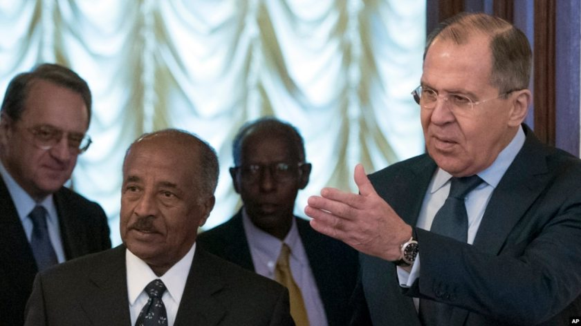 FILE - Russian Foreign Minister Sergey Lavrov, right, welcomes Eritrea's Foreign Minister Osman Saleh Mohammed, second from left, prior to a meeting in Moscow, Russia, Monday, Jan. 30, 2017.