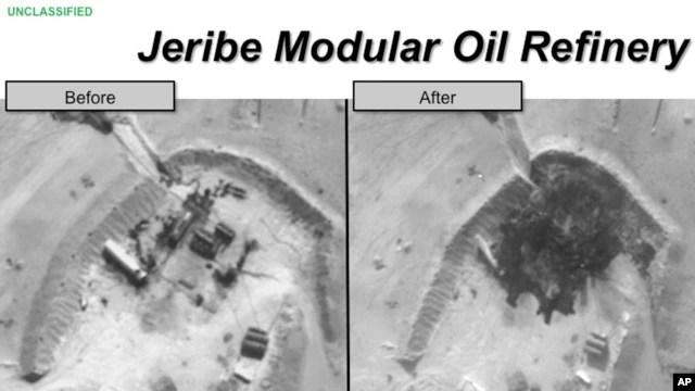 Hình ảnh do Ngũ Giác Đài cung cấp cho thấy nhà máy lọc dầu ở Syria trước và sau cuộc không kích của Mỹ.