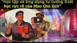 Tranh cổ động 'Học tập, ứng dụng tư tưởng triết học Mao Trạch Đông' được dùng làm hình nền minh hoạ cho chương trình truyền hình trực tiếp trao giải cuộc thi viết 'Những tấm gương bình dị mà cao quý' trên kênh truyền hình VTV.