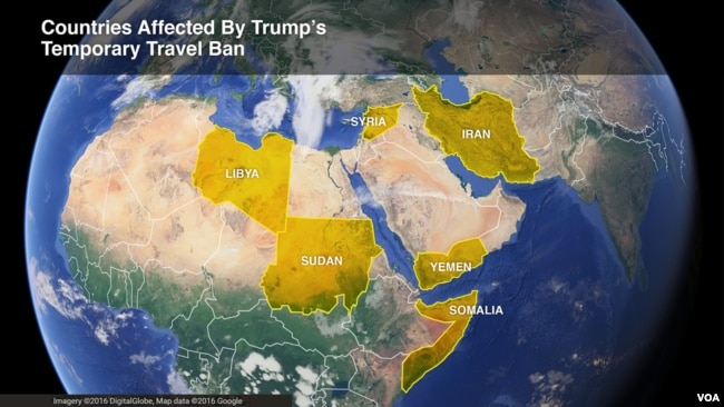 The six countries affected by President Donald Trump's temporary travel ban -- Iran, Libya, Somalia, Sudan, Syria and Yemen.