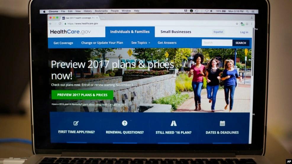 Website HealthCare.gov, nơi nhiều người dân Mỹ có thể vào để mua bảo hiểm y tế theo chương trình Obamacare