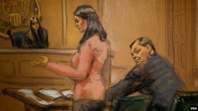 Một bức hình vẽ quang cảnh bên trong tòa án cho thấy ông Evgeny Buryakov, 1 trong 3 người bị cáo buộc nằm trong một đường dây gián điệp Nga.