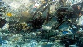 Ảnh của Cơ quan Quản trị Khí quyển và Đại dương Quốc gia (NOAA) cho thấy các rác thải trôi trên biển ở Hanauma Bay, Hawaii.