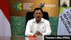 Menteri Kesehatan Terawan Agus Putranto, memberikan sambutan dalam kegiatan virtual Festival Sehat Anak Indonesia, memperingati Hari Pnemonia Dunia 2020, Kamis (12/11/2020). (Foto: VOA/Yoanes Litha)