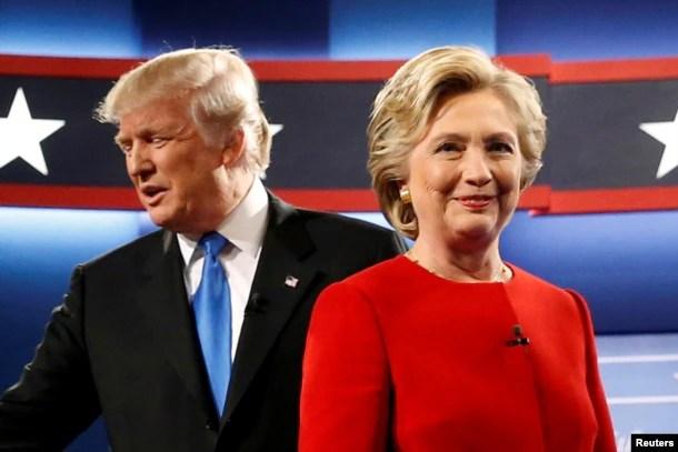在美国第一场总统候选人辩论的会场,唐纳德·川普和希拉里·克林顿(2016年9月26日)