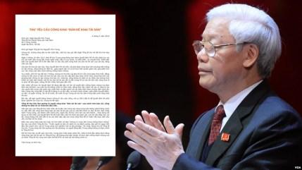 Tổng bí thư Nguyễn Phú Trọng được yêu cầu công khai tài sản cho dân chúng để làm gương cho những đảng viên khác noi theo.