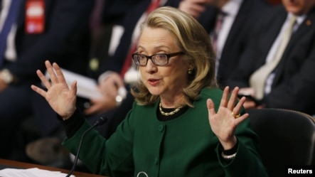 U.S. Secretary of State Hillary Clinton responds to criticism at a congressional hearing on the attack on in Benghazi, Libya, Washington, January 23, 2012.
