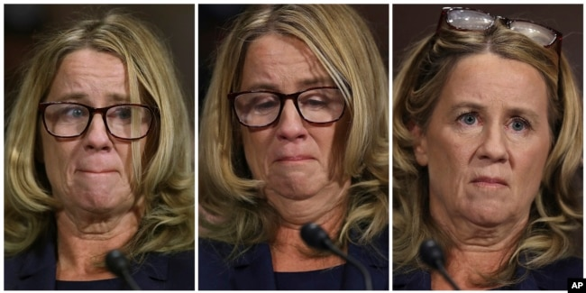 In this photo combination, Christine Blasey Ford testifies before the Senate Judiciary Committee, Sept. 27, 2018 in Washington.