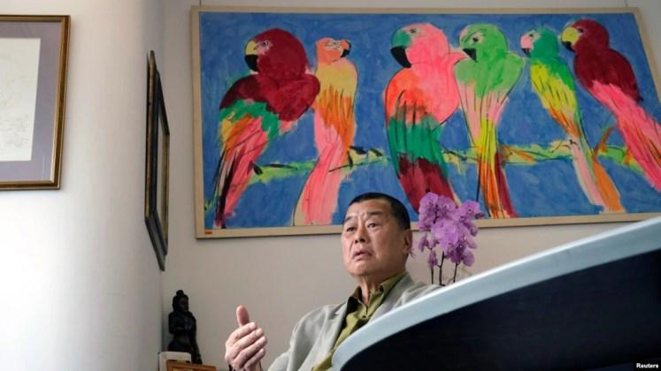蘋果日報創辦人黎智英在香港接受采訪時談港版國安法。 (2020年5月29日)