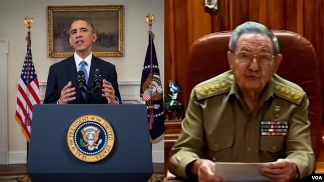 Tổng thống Mỹ Barack Obama và Chủ tịch Cuba Raul Castro