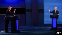 U.S. President Donald Trump (left), Republican Party candidate, and former Vice President Joe Biden, Democratic Party candidate, during their final debate in Nashville, Tennessee on October 22, 2020.