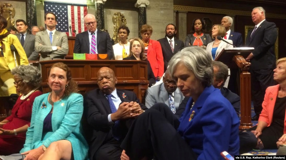 "A photo shot and tweeted from the floor of the U.S. House of Representatives shows Democratic members of the House staging a sit-in on the House floor ""to demand action on common sense gun legislation"" on Capitol Hill, in Washington, June 22, 2016."