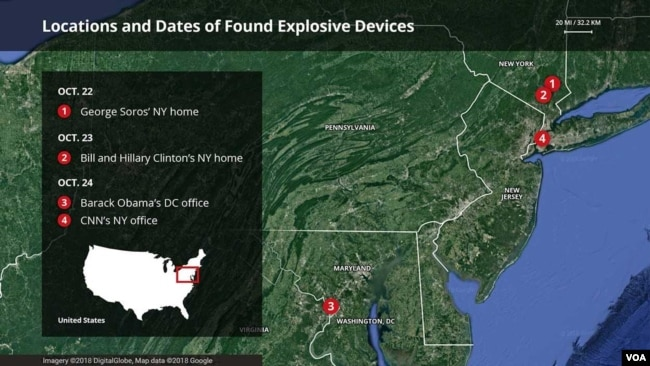 Map of locations that have received suspicious packages