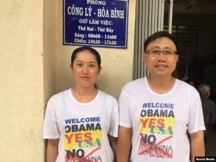 Nhà hoạt động Nguyễn Bắc Truyển và vợ là bà Bùi Kim Phượng, tháng 6/2016, Dòng Chúa Cứu Thế Tp. HCM. (Ảnh: Facebook Bùi Kim Phượng)