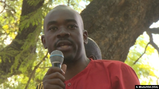 Nelson Chamisa leader of the Zimbabwe's main opposition party the Movement for Democratic Change Alliance addressing his supporters in Harare, July 11, 2018.