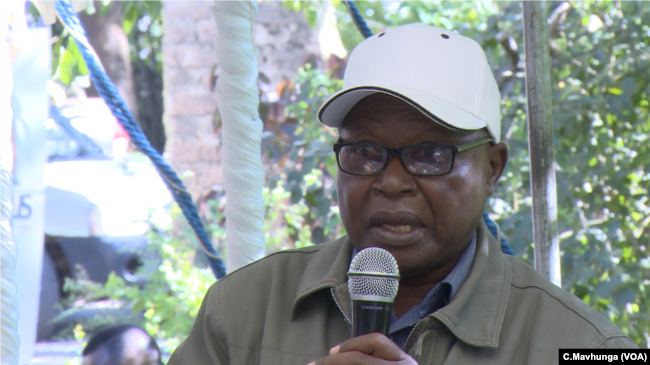 Ronnie Masango, who grows tobacco, spoke at the public meeting in Chinhoyi, Zimbabwe, May 10, 2019.