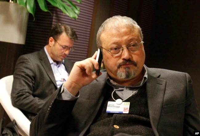 FILE - Saudi journalist Jamal Khashoggi at the World Economic Forum in Davos, Switzerland, Jan. 29, 2011.