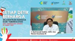Menkes Budi Gunadi Sadikin dalam tangkapan layar dalam acara Puncak Perayaan Hari Tubekolosis Sedunia tahun 2021 di Jakarta, Rabu (24/3) mengatakan pengalaman penanganan COVID-19 bisa diaplikasikan untuk penanggulangan TB.