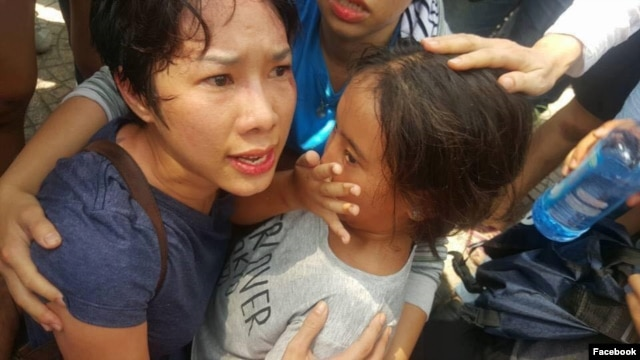 Bà Hoàng Mỹ Uyên và con gái được cho là nạn nhân trong vụ xô xát giữa lực lượng an ninh Việt Nam với người biểu tình hôm 8/5 ở Sài Gòn.