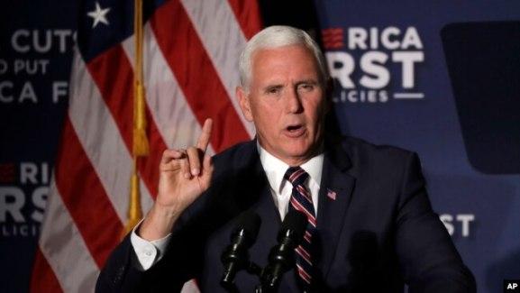 Archivo - El vicepresidente de EE.UU., Mike Pence, es visto el 13 de julio de 2018, durante un acto en Macon, Georgia, en apoyo a Brian Kemp quien se postula para gobernador.