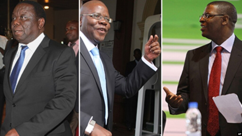 Movement for Democratic Change (MDC) formation leaders Morgan Tsvangirai, Tendai Biti and Welshman Ncube. (AP Photos/Collage by Ntungamili Nkomo)