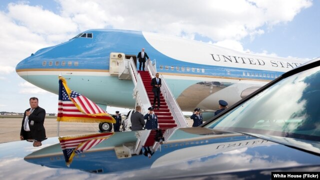 FILE - President Barack Obama disembarks Air Force One upon arrival at Joint Base Andrews, Md. (Official White House Photo by Pete Souza)