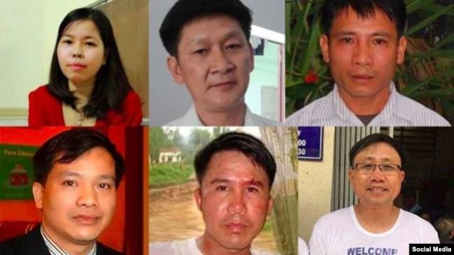 LS Nguyễn Văn Truyển (dưới, phải) cùng các nhà tranh đấu của Hội Anh Em Dân Chủ bị kết án tổng cộng 66 năm tù hôm 5/4/2018.