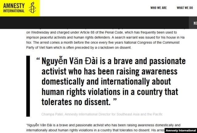 Ân xá Quốc tế kêu gọi Hà Nội trả tự do ngay cho luật sư Nguyễn Văn Đài và người cộng sự là luật sư Lê Thu Hà (Amnesty.org)