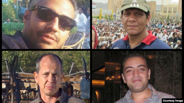 Al Jazeera reports that its journalists--(clockwise from bottom left) Peter Greste, Mohamed Fahmy, Baher Mohamed and Mohamed Fawzy--are being held after being arrested by Egyptian security forces on Sunday, Dec. 29. (Al Jazeera)