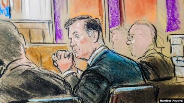 El ex jefe de campaña de Trump, Paul Manafort, en un boceto de la sala del tribunal, en el inicio de su juicio por cargos de fraude bancario e impositivo derivados de la investigación del abogado especial Robert Mueller sobre la intromisión rusa. Alexandria, Virginia, martes 31 de julio de 2018.