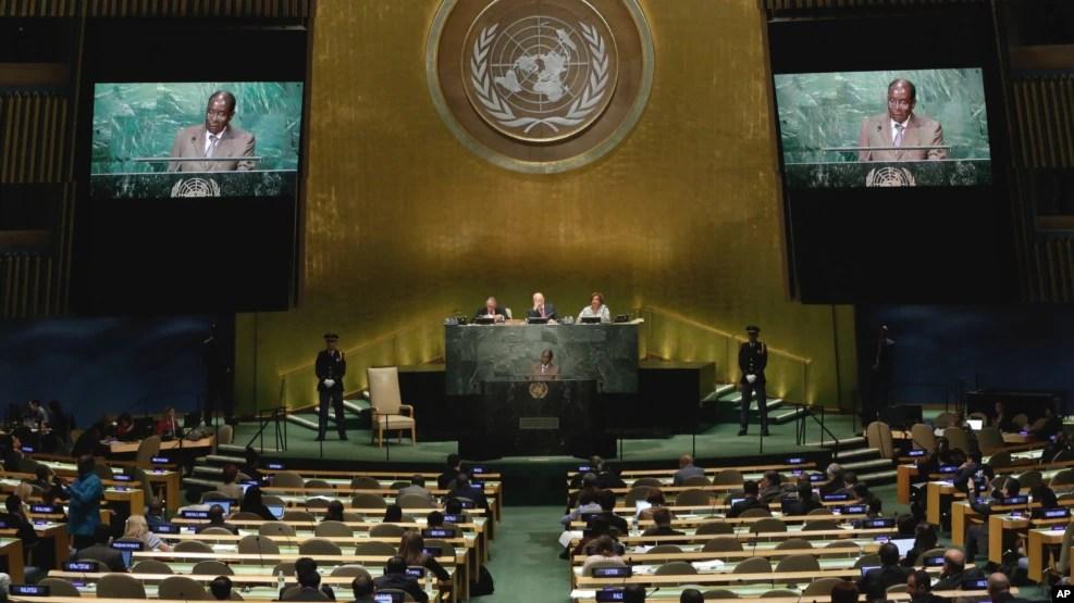 Tổng thống Zimbabwe Robert Mugabe phát biểu tại phiên họp Đại hội đồng Liên hiệp quốc lần thứ 71 ở New York, 21/9/2016.