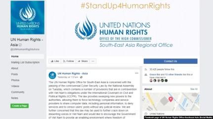 Văn phòng Nhân quyền LHQ chuyên trách ĐNÁ hôm 14/6 ra tuyên bố về luật an ninh mạng của Việt Nam