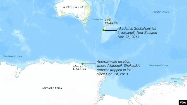 Route of MV Akademik Shokalskiy
