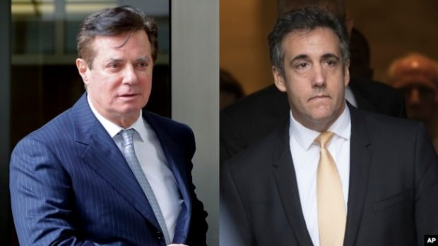 En estas fotos de archivo de 2018, Paul Manafort deja la corte federal en Washington, a la izquierda, y el abogado Michael Cohen deja la corte federal en Nueva York.