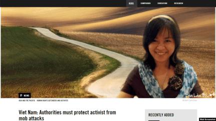 Amnesty International lên tiếng trường hợp Nhà hoạt động Đỗ Thị Minh Hạnh bị tấn công. Ảnh chụp Amnesty International.
