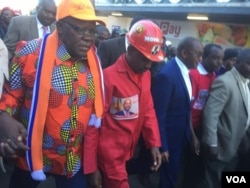 FILE: Tendai Biti and Nelson Chamisa attending the MDC Alliance protest Tuesday in Harare.