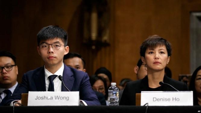 Nhà hoạt động Hong Kong Joshua Wong (trái) và Denise Ho, dự một buổi điều trần về các cuộc biểu tình ở Hong Kong, ngày 17 tháng 9, 2019, trong điện Capitol ở Washington