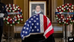 Judge Ruth Bader Ginsburg's coffin in Statuary Hall on Capitol Hill, Washington, September 25, 2020.