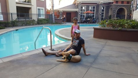 Michael, Alicia and Durango at the pool