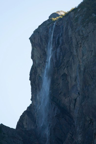 Waterfall above Western Brook Pond