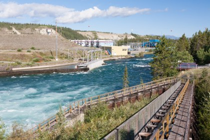 Whitehorse Fishway: The fishladder rises almost 50' up and around the power dam
