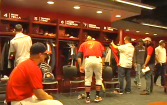 Auburn Baseball players settle into their new locker room that was just completed prior to this season.
