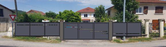 Portail coulissant-métal-Vinay-design-automatisé-barrière