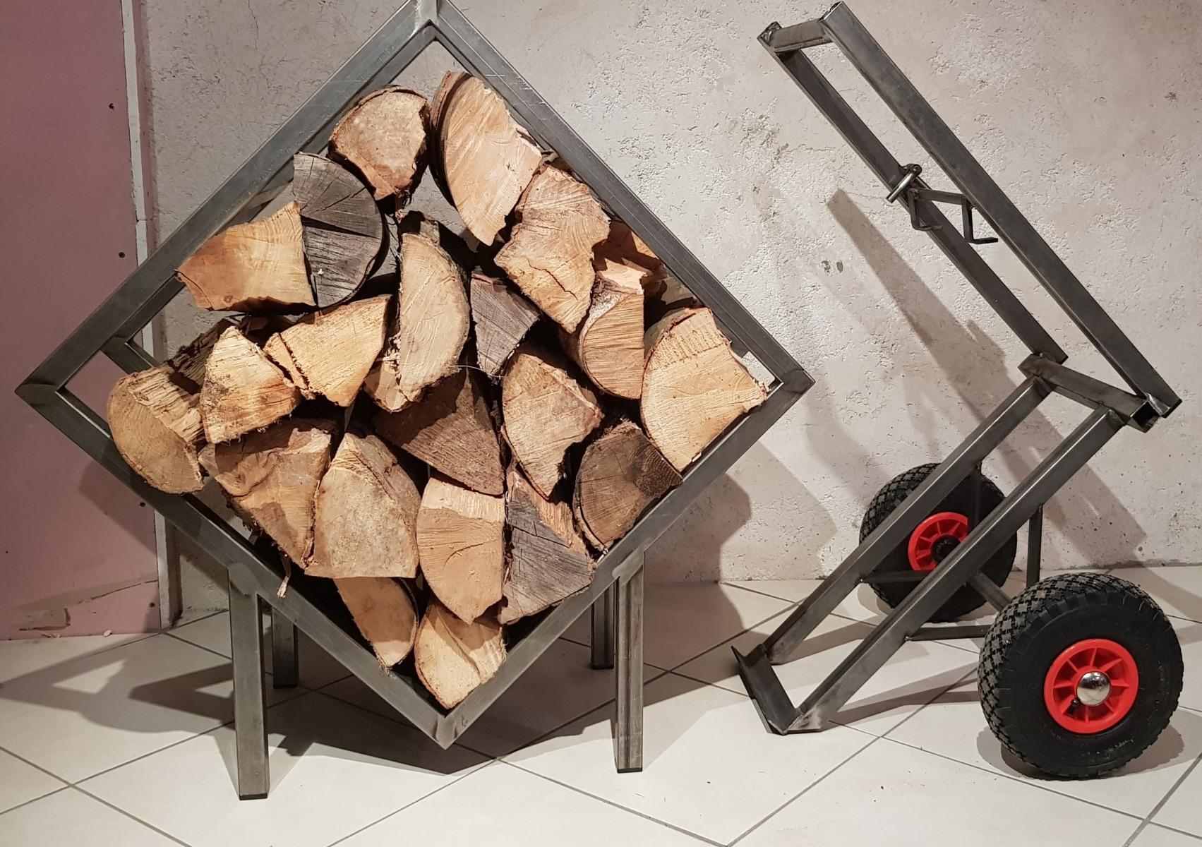 Porte buches-design-acier-Isère-mobile
