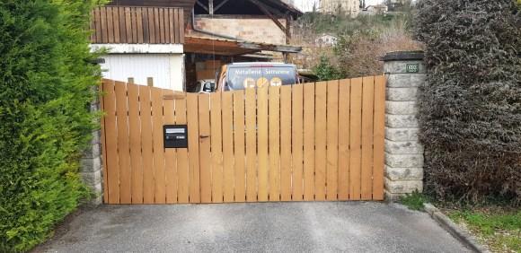 Rénovation portail-acier-bois-saint Marcellin