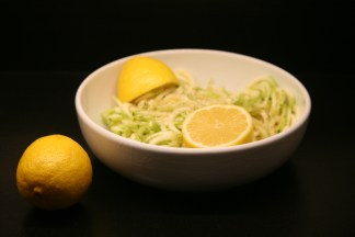 Lemon marrow spaghetti in bowl