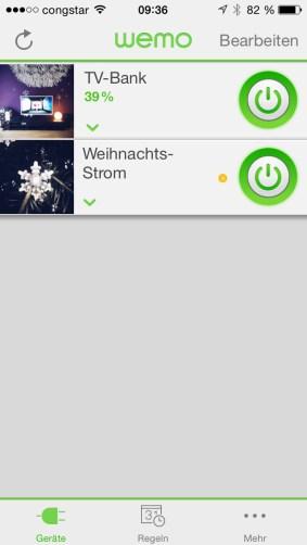 WeMo Module in der App