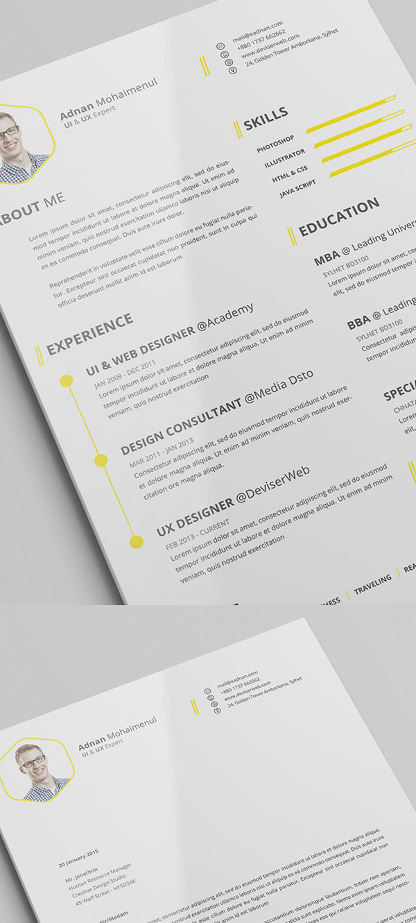 Free Minimalistic CV Resume Templates with Cover Letter Template     Free CV Resume PSD Template with Cover Letter
