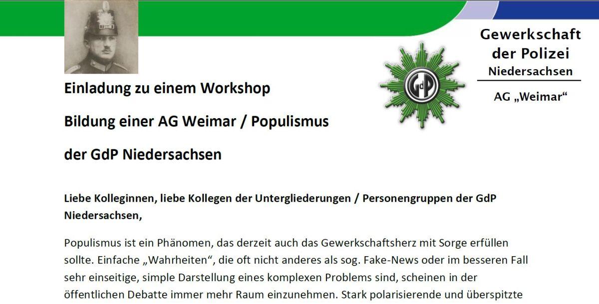 GdP BG GÖ sucht Teilnehmer für eine Arbeitsgruppe Gewerkschafter/Polizei in der Weimarer Republik