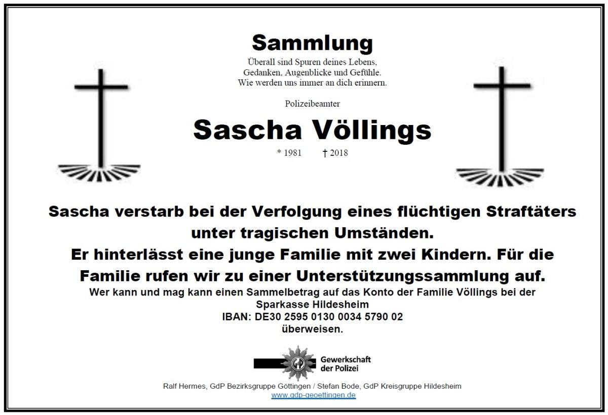 Sammelaufruf für einen verstorbenen Kollegen der Polizeiinspektion Hildesheim